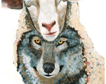 """38""""x50"""" Wolf in Sheep's Clothing Large scale PRINT of original painting by Natalie Wright"""