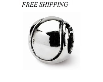 Sterling Silver Kids Tennis Ball Bead