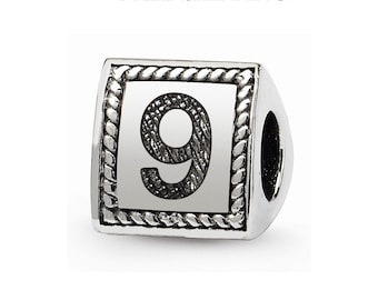 Sterling Silver Number 9 Triangle Block Bead