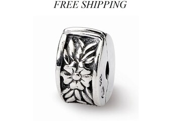 Sterling Silver Kids Floral Clip Bead