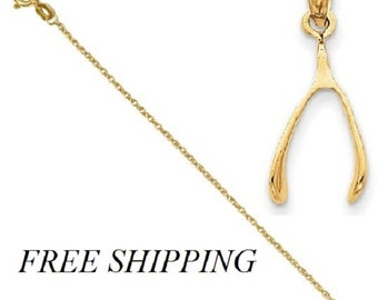 14k Wishbone Pendant with 14k Chain