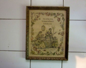 antique framed picture ladies and little girl