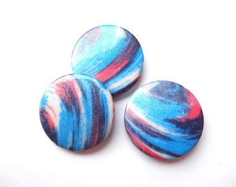 5pcs Colorful Flat Acrylic Disk Beads 30mm Multicolored Plastic Coin Beads Center Drilled Jewelry making Supplies