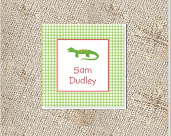 Children's Personalized Gift Cards -  24 cards; Gift Enclosures for Kids; Lizard Gift Tags;  Gift Cards for Boys