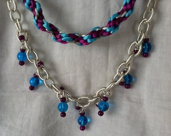 Kumihimo and Beaded Chain Necklace