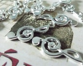 10 Piece Silver Finish Musical Note Charm for Jewelry Making - C8215