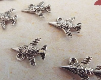 8 Pieces Jet Airplane Jewelry Charm for Charm Bracelets, Jewelry Making, Jewelry Supplies, Necklaces, Earrings - C24415