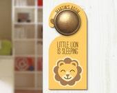 Personalised Children's Door Hanger - Do Not Disturb wood sign nursery - Lion DH0002