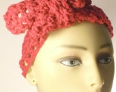 Pink adult headband / Crochet mesh headband / Hair tie accessory / Ready to ship / Teens hair accessories