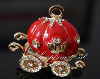 Fashion Popular Red Pumpkin car Flatback Alloy jewelry Accessories materials For Phone case deco