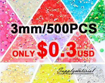 SALE 3mm/500pcs AB colors Flatback Rhinestone Crystal accessories material supplies (11colors)