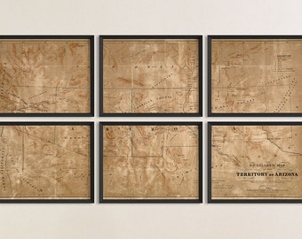 Old Arizona New Mexico Map Art Print 1860 Antique Map Archival Reproduction - Set of 6 Prints