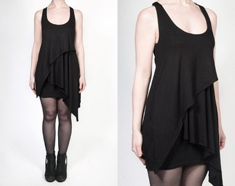 Black Asymmetric Layered Jersey Tank Top