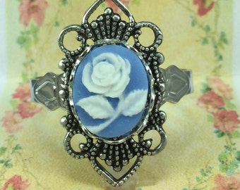 Cameo Ring Blue with Flower Design, Adjustable, Vintage Victorian Style, Adjustable Blue Cameo Ring
