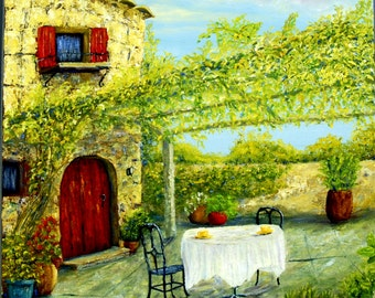 Original art, Coffee on the Veranda, limited edition giclee print on canvas of Tuscan art,  veranda, arbor, vines,