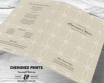 Interlocking Circles Modern funeral program, funeral folder celebration of life program, order of service, memorial program, memorial folder