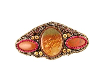 Barrette-Rocky Butte jasper cabochon-red jasper ovals-bead embroidered-seed beads,-pearls-picture jasper-fancy jasper-rust color-stone