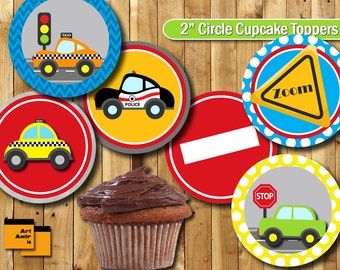 Car theme Party Cupcake Topper, Birthday Party Cupcake Topper, Car Printable, Party Printable Decoration transportation on the road TFP-3