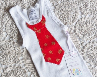 Baby Boys White Christmas Singlet with Applique Red Tie and Gold Stars, Size 0. One only Ready to ship