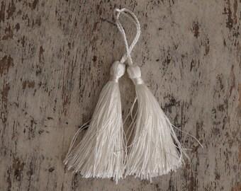 Creamy white silky tassels - 2 pcs., tassels for malas, jewelry, accessories, home decor, wedding tassels, white tassels, craft supplies - 2