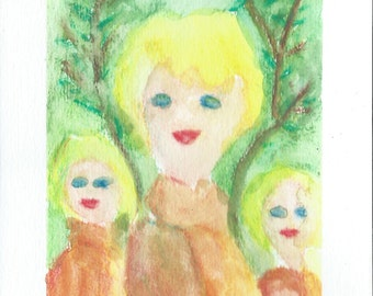 Original Watercolor Portrait Painting/ Illustration- Three of us