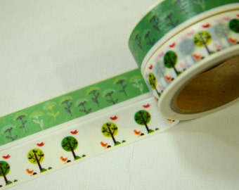 2 Rolls of Japanese Washi Masking Paper Tape- Daisy and Trees
