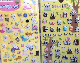 Japanese / Korean Puffy Sticker (Pick 1): Cats or Panda