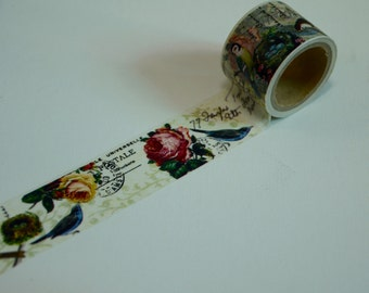 1 Roll of Japanese Washi Tape Roll- Birds and Flowers