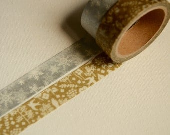 2 Rolls  Japanese Washi Masking Paper Tape: Golden Xmas Forrest and Silver Snowflake