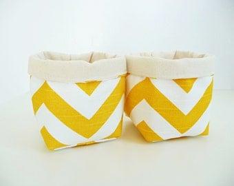 Chevron Canvas Fabric Basket Organizers in Premier Prints Zig Zag Slub Yellow - Set of 2 Small Bins