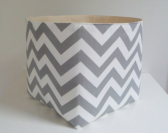 Extra Large Storage Basket Fabric Organizer in Grey and White Chevron Zig Zag with Canvas liner - Choose Your Size