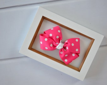 Pink and White Hair Bow - Shocking Pink and White Polka Dot Hair Bow