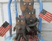 Primitive Grungy Americana Folk Art~Liberty & Boom Boom Cat Doll Set ~HAFAIR