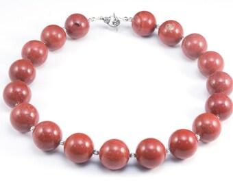 red jasper necklace - jasper gemstone jewelry - chunky gemstone round bead necklace - simple bold beaded jewellery - red statement jewelry