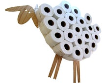 SHEEP-shelf - a wall shelf for storing toilet paper rolls (10-30 rolls). Funny Wall Decal made of various kinds of veneers.