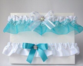 Turquoise organza and white satin garter set/Turquoise and white bridal garter set/ Wedding garter set/Turquoise prom garter/Keepsake garter