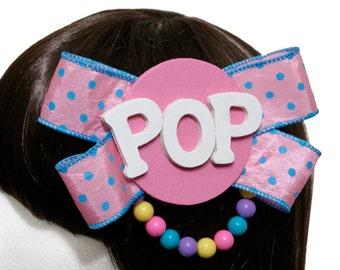 Kawaii Pink Bubblegum Gumball Pop Bow Barrette - Made to Order