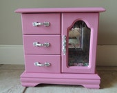 Reserved for Allison - pink floral standing jewelry armoire