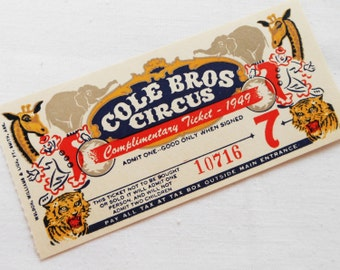 One (1) Large Vintage Circus Ticket - 1 Old Illustrated Cole Brothers Circus Ticket from 1949 - Clowns, Tigers, Elephants, Giraffes