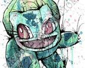Pokemon Bulbasaur Video Game Character Watercolor Fan Art Print