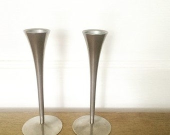 Pair of Solingen Germany 1960s Chrome Candlesticks