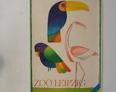 Original Zoo Advertising Poster- Leipzig (GDR/East Germany) 1970s- striking toucan/flamingo design