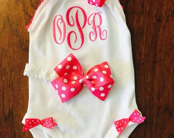 Baby Girls Personalized Romper bodysuit with Upper case initials. Monogrammed.So adorable for your little girl.