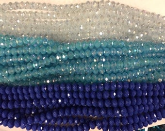 10mm crystal rondelle glass, 34 beads, faceted