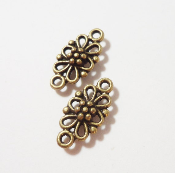 Bronze Connector Charms 15x7mm Antique Brass Metal Flower Connector, Bracelet Components, Necklace Connector Parts, Earring Findings 10pcs