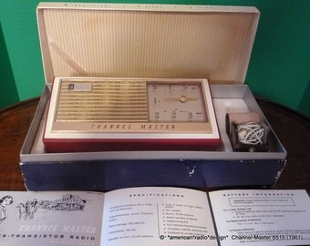 CHANNEL MASTER Transistor Radio 6515 Restored & plays well. See/hear Video