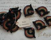 1 Piece Antique Petite German Art Deco Passementerie Black Rust Green Flapper Applique Gimp  Soutache Trim Edwardian French Millinery