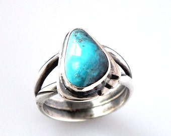 Bisbee Turquoise, sterling silver handmade OOAK Smokey Blue Turquoise ring