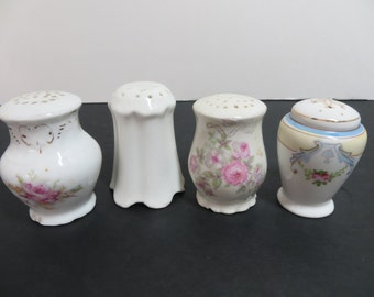4 Very Old Porcelain Salt and Pepper Shakers