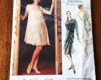 Vogue Karl Lagerfeld Pattern, Vogue 2407, Paris Original Pattern, Elegant Dress, Uncut, Size 12 to 14, 1980s